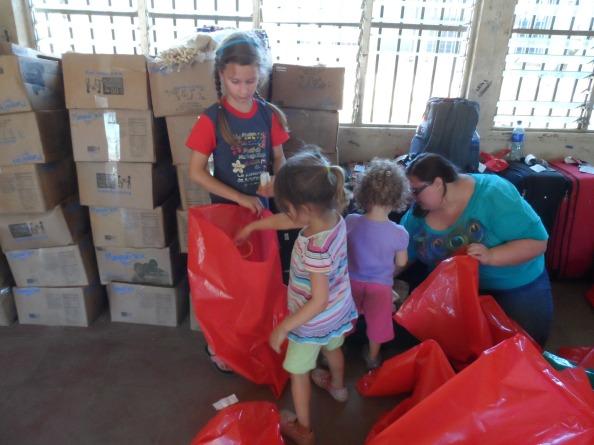 Emma, Paige, Riley and Katie working hard.