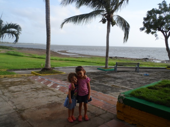 Emma & Paige outside our hotel