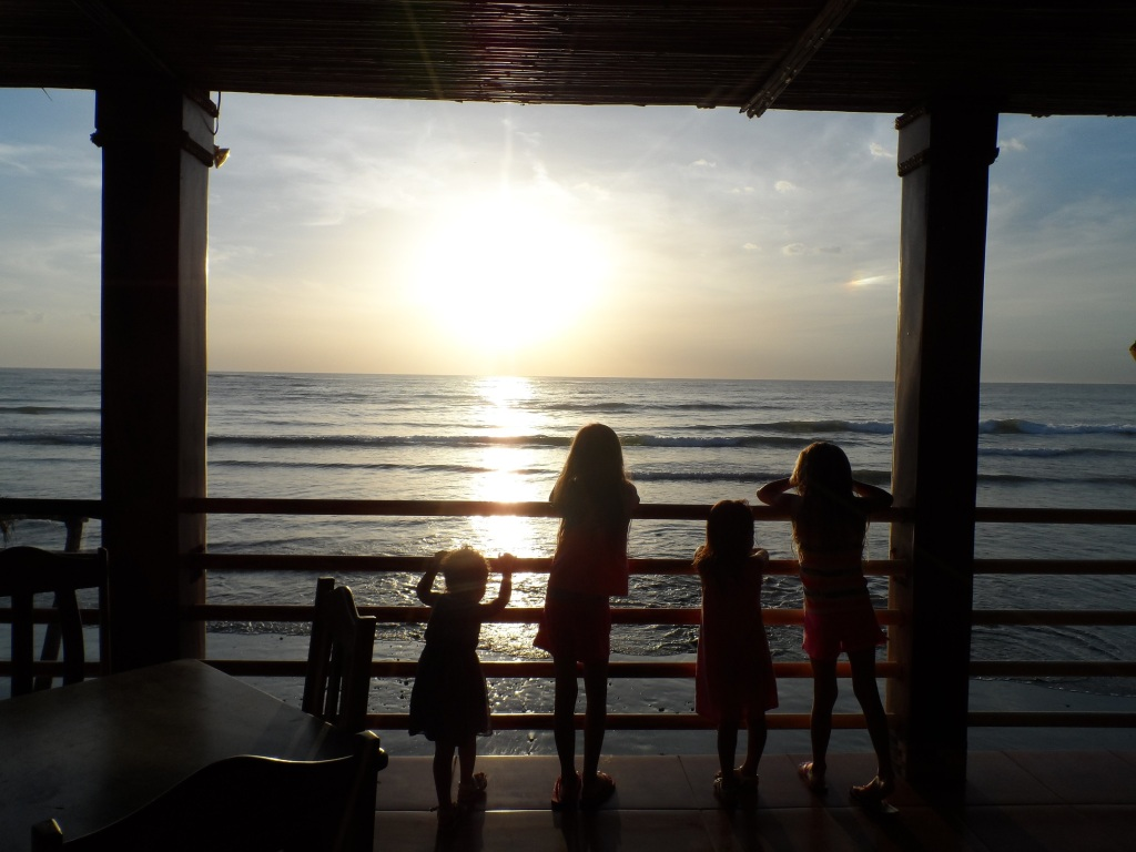 Emma, Paige & their cousins Riley & Madison looking out over the Pacific in Masachapa on Emma's birthday.